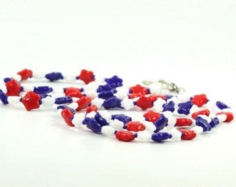 Labor Day ID Lanyard White Red Blue Stars Patriotic Beaded Badge Holder Veterans Day USA Americana Memorial Day 4th of July ID Leash