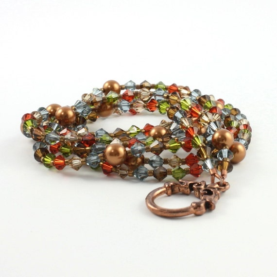 Autumn Colors Necklace / Copper Jewelry / Rustic Red / Olive Green / Golden Topaz / Meadow Blue / Fall Fashion Jewelry / Crystal Necklace