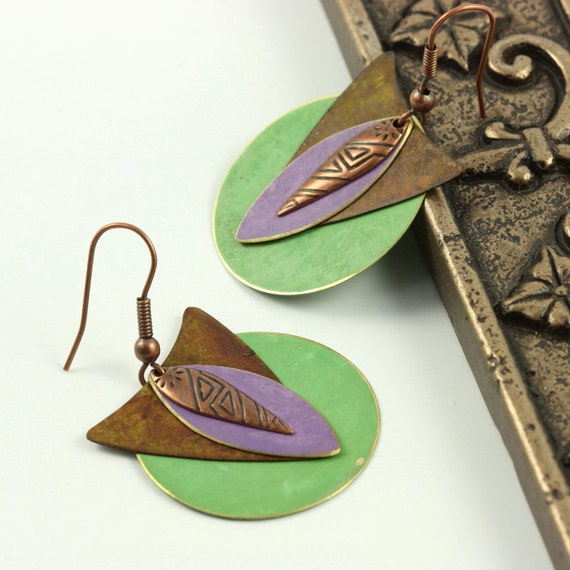 Boho Earrings Mint Green Lavender Brass Patina Mixed Metal Southwest Boho Jewelry