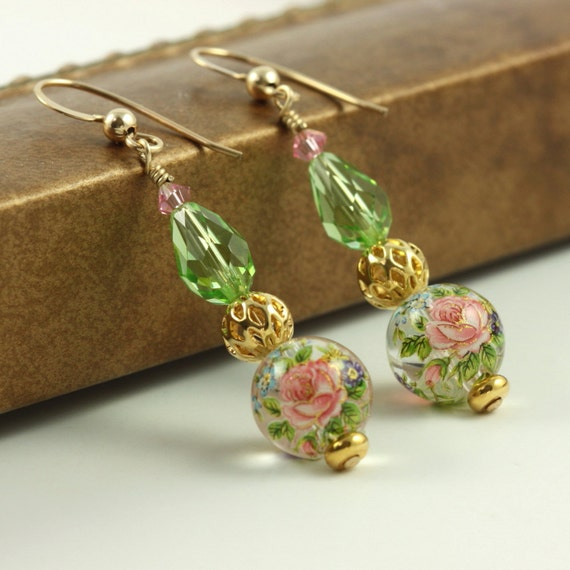 Mint Green Earrings Pink Pastel Spring Fashion Tensha Gold Floral Chartreuse Unique Jewelry Mothers Day Jewelry