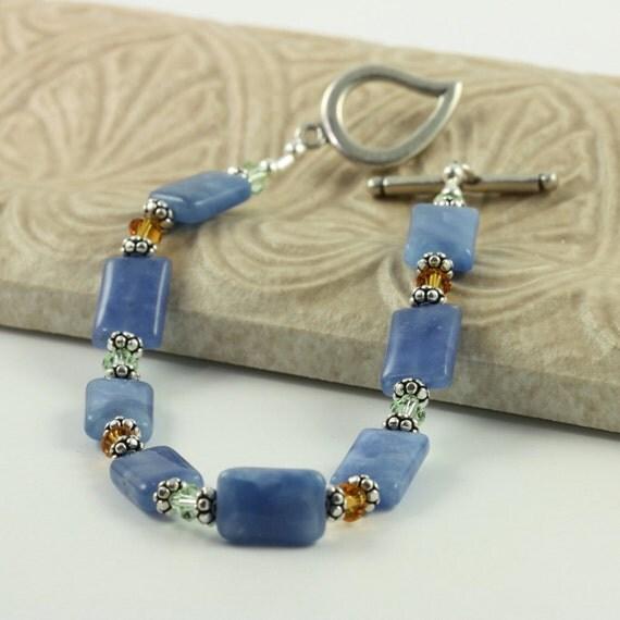 Sky Blue Bracelet Blue Quartz Gemstone Topaz Crystal Green Jewelry Light Blue Pale Green Bracelet