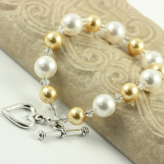 Yellow Honey Gold White Bracelet Pastel Pearl Crystal Bridal Jewelry Spring Fashion Sterling Heart Prom Jewelry