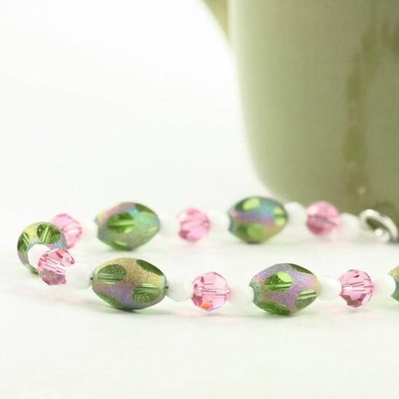 Green Pink Bracelet Spring Fashion Easter Egg Shaped Glass Beads Easter Jewelry Sterling Silver Beaded Bracelet