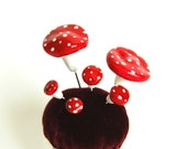 Toadstool Pin Topper Set of 6
