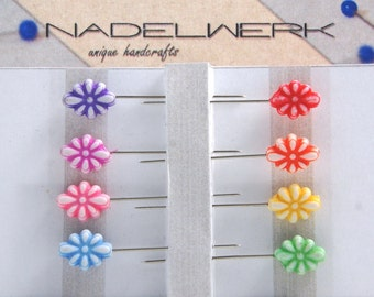 Sewing pins - set of 8 oval flower shape
