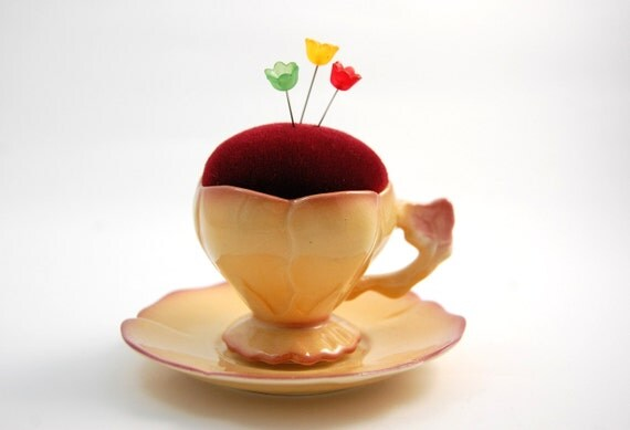 Pincushion 'Lotus Flower' porcelain cup flower bud shape