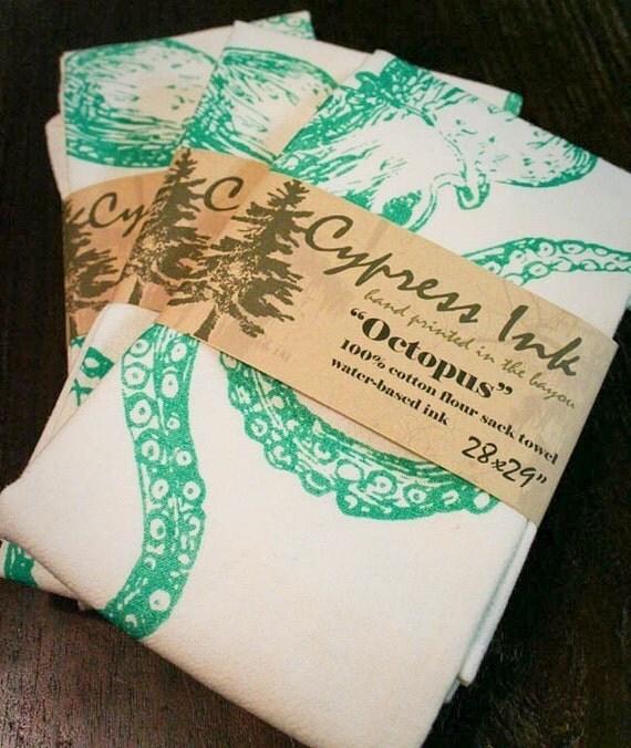 Green Octopus Kitchen Towel