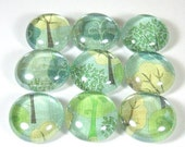 Glass Marble Magnets or Push Pins Set - The Forest Through the Trees