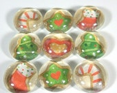 Marble Magnets or Push Pins Set -  Christmas Cookies