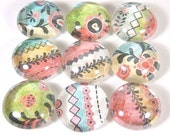 Glass Marble Magnets or Push Pins Set - Quilted