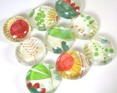 Glass Marble Magnets or Push Pins Set -  Jungle Flora and Fauna