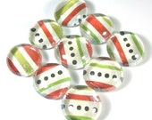 Marble Magnets or Push Pins Set - Red and Green Stripes and Black Dots