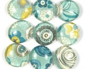 Glass Marble Magnets or Push Pins Set- Whimsical Blue and Yellow Flowers