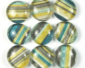 Fridge Magnets or Marble Push Pins Set - Grey Blue Yellow Stripe