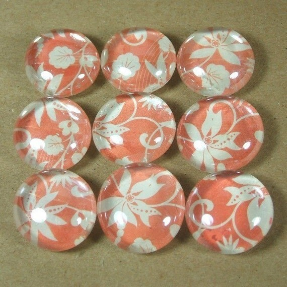 Marble Magnets or Push Pins Set - Flora on Pink