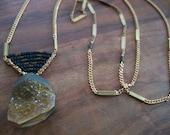 The Tiger Quartz Drop Necklace .. Black and Bronze Chevron Beads