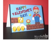 Super Mario Valentine 2.5 x 3.5 Folded Cards--- inside blank--12 cards with white envelopes