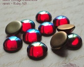 Vintage Cabochons - 13 mm Ruby AB - 6 West German Glass Stones