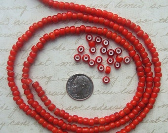 """Strand of 1930's Vintage Italian Whiteheart Glass Beads in Classic Red 30"""" strand"""
