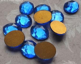 Vintage Cabochons - 10x12 mm Facet Sapphire Blue - 6 West German Faceted Glass Stones