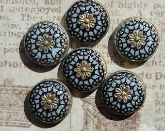 Vintage Glass Cabochons - 13mm Round White, Black And Gold Deco Design (choose 2 pc or 4 pc)