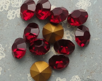 Vintage Czech Rhinestones  ss47 Siam Ruby Optima Preciosa Pointback Chatons With Gold Foil (choose 6 pc or 12 pc)