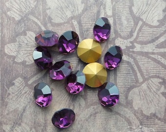 Vintage Czech Rhinestones - ss47 Amethyst - Optima Preciosa Pointback Chatons With Gold Foil