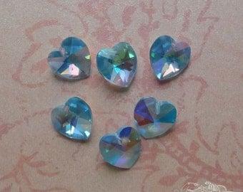 6 Swarovski Heart Pendant Beads - Art 6202 Corona 10mm Aquamarine AB