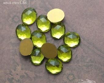 Vintage Cabochons - 10x12mm Facet Olive Green - 6 West German Faceted Glass Stones
