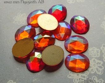 Vintage Cabochons - 10x12 mm Facet Hyazinth AB Orange - 6 West German Faceted Glass Stones