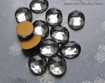 Vintage Cabochons - 10x12mm Facet Smoky Grey - 6 West German Faceted Glass Stones