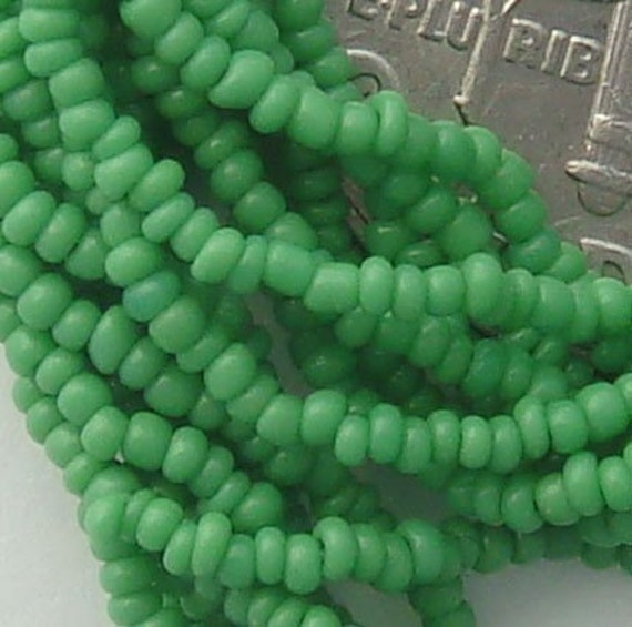 Size 18/0  Antique Seed Beads - Opaque Kelly Green