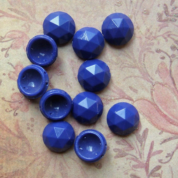 6 Large Vintage Glass Nailheads or Sew Ons - 2 Hole Navy Blue