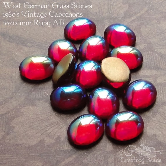 12 Vintage Cabochons - West German Glass Stones  - 10x12mm Ruby AB