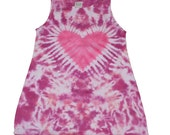 Girls Heart Shirt in Raspberry with Hot Pink Tie Dye