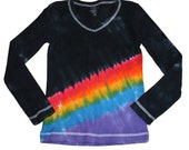 Womens Tie Dye Shirt in Black with Rainbow Colors- New Twist on an Old Classic of Rainbow Tie Dye