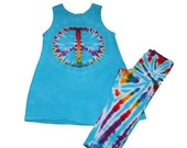Girls Rainbow Peace Sign Tunic and Leggings Set in Turquoise and Rainbow Tie Dye