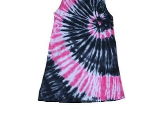 Girls Tie Dye Tunic  in Black and Hot Pink- versatile and cute