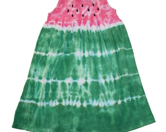 Watermelon Dress in Pink and Green Tie Dye- sizes 6m through girls size 12