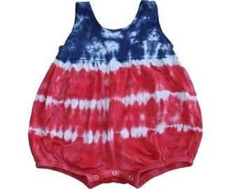 Girls Romper in Red, White and Blue Tie Dye