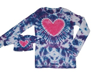 Matching Girl and Doll Blue and Purple with a Pink Heart Tie Dye Shirt Set- Fits 15 to 18 Inch Dolls