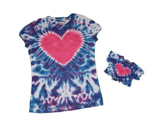 Matching Girl and Doll Blue and Purple with a Hot Pink Heart Shirt Set- Fits 18 and 15 Inch Dolls