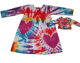 Girl and Doll Dress and Shirt Set in Rainbow Tie Dye- Fits 15 to 18 inch dolls
