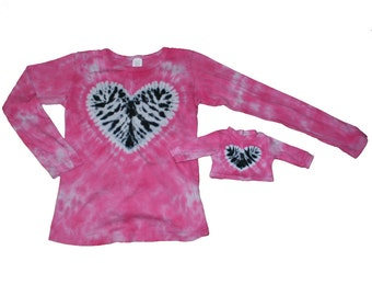 Matching Girl and Doll Tie Dye Shirt Set in Hot Pink with a Zebra Heart - Fits 18 and 15 Inch Dolls