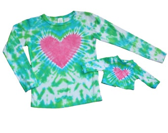 Matching Girl and Doll Lime Green and Turquiose with a Hot Pink Heart Tie Dye Shirt Set- Fits 15 to 18 Inch Dolls