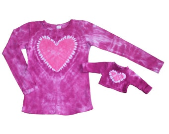 Matching Girl and Doll Magenta with a Hot Pink Heart Tie Dye Shirt Set- Fits 15 to 18 Inch Dolls