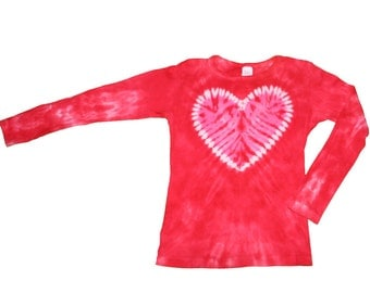 Heart Shirt in Red with a Pink Heart Tie Dye Shirt for Girls and Women