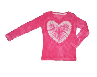 Tie Dye Shirt in Hot Pink with a White Heart- Girls and Adult Sizes Available