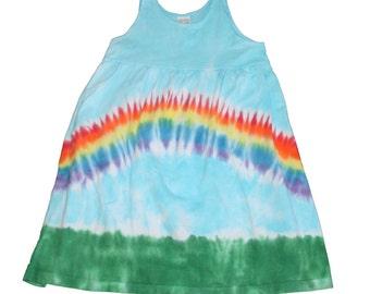 Rainbow Dress in Light Blue with a Rainbow Tie Dye