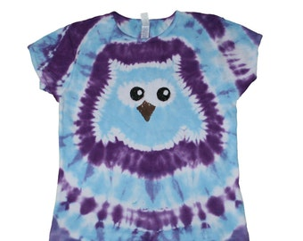 Tie Dye Shirt in Purple with a Light Blue Owl- Girls and Adult Sizes Available